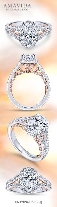Amavida by Gabriel & Co. - Voted #1 Most Preferred Bridal Brand.   Such a charming 18k White Gold/Pink Gold Oval Cut Halo  Engagement Ring.