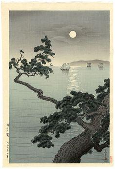 Kawase Hasui (1883-1957): Full Moon at Akashi Beach, Kobe