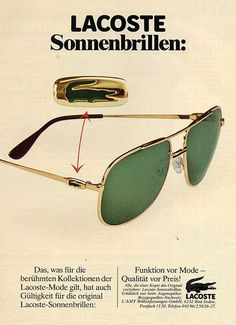 3bd3d21eba0a 1982- Lacoste Versace Shades, Lacoste Clothing, Balenciaga Sunglasses,  Vintage Tennis, Throwback