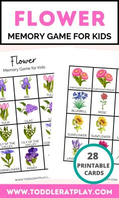 This Flower Memory Game for kids is super fun! You'll get 28 cards to cut out and match. Have fun playing an awesome memory game and learn flowers at the same time! This is a great idea for even the earliest of learners as the cards have pictures and names on the cards. Toddlers can focus on memorizing and matching the pictures first and then move on to remembering the names of each flowers.  #memorygame #printables #flowerprintables Toddler Learning Activities, Indoor Activities For Kids, Toddler Preschool, Preschool Activities, Kids Learning, Memory Games For Kids, Games For Toddlers, Toddler Games, Fun Printables For Kids