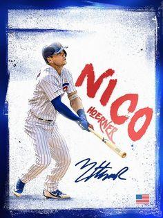 Nico Hoerner Graphic on Behance Go Cubs Go, Chicago Cubs Baseball, Cubs Fan, Baseball Season, American League, National League, Cubbies, A Team, Mlb