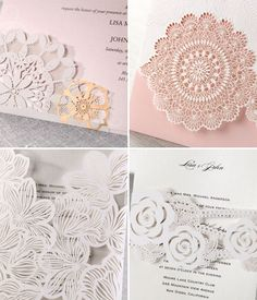 love the details in these laser-cut wedding invites