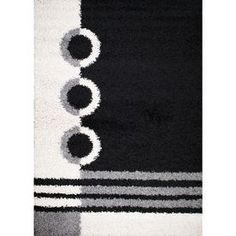 Concord Global Moderno Black Rectangular Indoor Woven Area Rug (Common: 5 X  7;