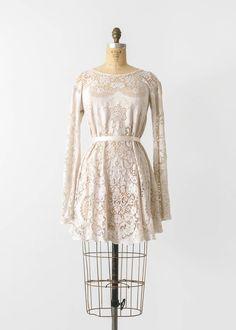 de6797c27e08 70s Lace Dress   1970s White Bohemian Mini Dress   70 s 1970 s Hippie Bell  Sleeve Tunic   Size XS S   60s 1960s Cotton Cream Boho Dress
