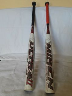 There are 2 Miken,s 2 pc Ultra II 30 oz red and white   eBay Slow Pitch Softball, S 2, 30th, Red And White, Detail, Ebay