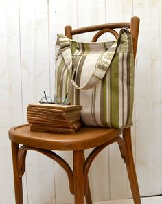 Diaper bag  Pleated tote STOCKHOLM linen stripe with by ikabags,