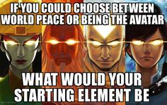 What if the Avatar series was based on the Periodic Table?  There could be some odd super powers there.  Why, I could be one with a cool name, like Niobium, or Palladium.  Or, I could be Xenon!  A pacifist element that is also a Noble gas!
