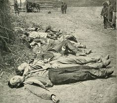 Dead Confederate soldiers. 30% of all Southern white males 18–40 years of age died in the American Civil War.