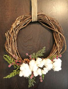 Easy Cotton Wreaths - I made these easy cotton wreaths for a simple Christmas decoration in my Kitchen.  They are very easy to make with just a few supplies fro…