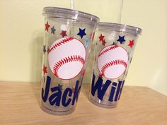Now in 20 oz - Personalized acrylic tumbler w/ lid and straw, name, team colors - baseball, any SPORT, soccer, volleyball, football on Etsy, $14.00