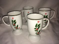 Lot Of 4 Vintage Christmas Porcelain Holly Footed Coffee Mugs Cups MIJ