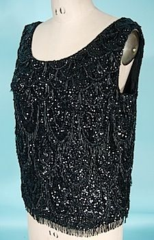 1960s Black Wool Beaded and Sequin Shell Top