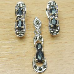 Genuine Sapphire 925 Sterling Silver Marcasite Double Stone Jewelry Set