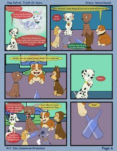 Paw Patrol Comic - Truth or Dare Pg 6 by kreazea on DeviantArt A Night To Remember, Great Stories, Cover Pages, Paw Patrol, Funny Comics, Funny Moments, Dares, Pup, Comic Books