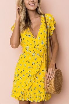 New beautiful V neck yellow summer floral ruffle mini wrap dress short sleeve Neon Dresses, Fashion Dresses, Short Sleeve Dresses, Dresses With Sleeves, Fashion Clothes, Formal Attire For Women, Casual Dresses For Women, Formal Dresses, Dress Casual