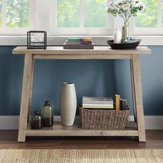 Better Homes & Gardens Granary Modern Farmhouse Console Table, Multiple Finishes - Walmart.com - Walmart.com Outdoor Console Table, Entryway Tables, Thick Cardboard, Thinking Outside The Box, Better Homes And Gardens, Storage Bins, Modern Farmhouse, Home And Garden, It Is Finished