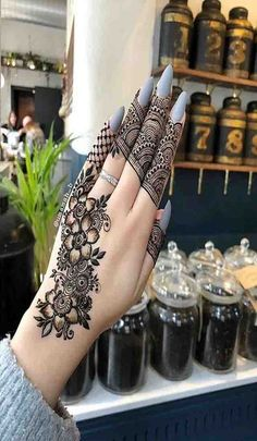 Mehndi henna designs are always searchable by Pakistani women and girls. Women, girls and also kids apply henna on their hands, feet and also on neck to look more gorgeous and traditional. Henna Hand Designs, Eid Mehndi Designs, Modern Mehndi Designs, Mehndi Design Pictures, Mehndi Designs For Girls, Mehndi Designs For Fingers, Beautiful Henna Designs, Latest Mehndi Designs, Bridal Henna Designs