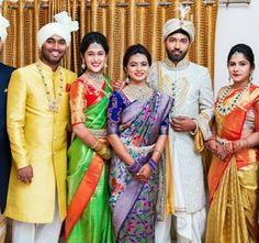 Image may contain: 5 people, people standing and wedding Bridal Silk Saree, Saree Wedding, Marathi Wedding, Saree Jacket Designs, Kurta Designs, South Indian Bride, Indian Bridal, Kids Dress Wear, Bridal Blouse Designs