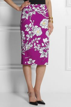 Floral-print textured cotton skirt. Modest doesn't mean frumpy. Dressing with Dignity! http://amzn.to/1qeVHv9