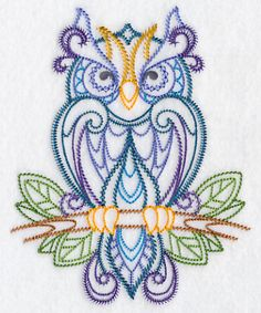 Finely Feathered Owl (Vintage) design (K2330) from www.Emblibrary.com