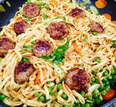 great asian-style pasta with hot meat balls