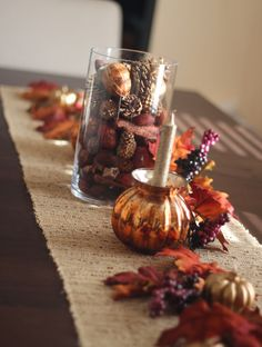 Thanksgiving Decor for dining table...would look good with a burlap table runner!