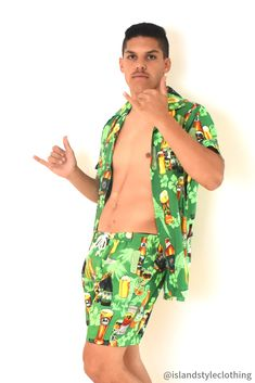 Wicked Party Kits - Hawaiian Shirt and Shorts. Beer Range in Green - features Parrots, Flowers