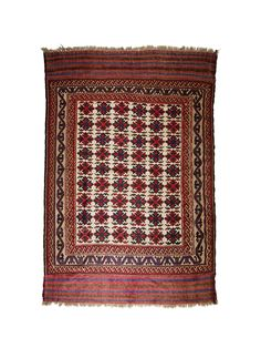 "Niki meaning ""goodness"" (or kindness), an antique Afghan Herat Kilim rug from the 1940-50's. An authentic tribal design with stars to ward off evil spirits, running water representing life force and female emblems for fertility (hands on hips).  Colour symbology in Afghan rugs: Blue represents trustworthy, dependable and committed. Red means wealth, courage, beauty, joy and luck. Brown or neutral colours are associated with all things natural and wholesome like the earth. 2,400 Euro's"
