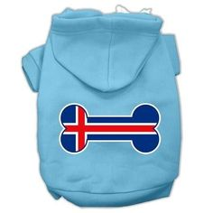 Bone Shaped Iceland Flag Screen Print Pet Hoodies Baby Blue M (12)
