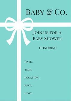 FREE Tiffany & Co. inspired Baby Shower Invitations - Baby Shower Ideas - Themes