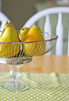 DIY Makeover: Modern Fruit Bowl from Sherry Glass/Candlestick + Wire Basket (or Recycled Vintage Fan Cover) - (? Glass Candlestick Holders, Glass Candlesticks, Modern Fruit Bowl, Modern Sewing Projects, Diy Projects, Vintage Fans, New Fruit, Repurposed Items, Recycled Crafts