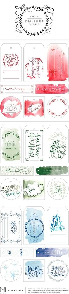 10 Free Sets of Christmas Gift Tag Printables