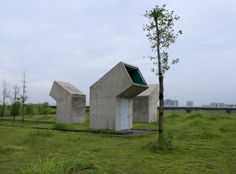 Jinhua Architecture Park Public Toilet by DnA_Design And Architecture - Architizer. This public facility breaks up into individual pieces, maximizing the privacy inside while minimizing land use in the park.