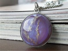 Dried leaves purple resin pendant necklace