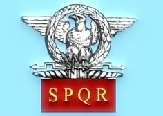 Vexillum with an eagle surmounting a thunderbolt, with the letters SPQR (Senatus Populusque Romanus/The Roman Senate and People); one of a number of standards and flags used by the Romans during the Roman Republic and the Roman Empire.