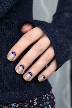 Le Fashion Blog DIY Nail Art Navy And Taupe Half Moon Manicure Dark Blue Knit Floral Print Pants Via Muxe