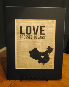"""Vintage Word art """"Love Crosses Oceans"""" - China. Other countries available. Great for adoptive families, missions, etc. $15"""