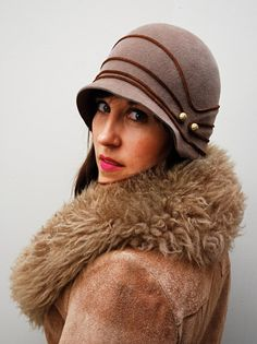 Hand Draped Velour Bell Cloche  Brown /Leather by humperdinckhats, $180.00