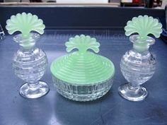 shopgoodwill.com: VTG Frosted Green Glass Perfume Vials