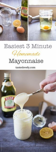 The EASIEST 3 minute homemade mayonnaise recipe, made in a mason jar with a hand immersion blender. Turns out perfect every time! #paleo #Whole30