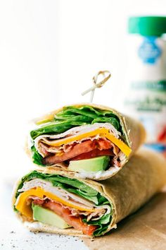 The BEST Turkey Avocado Ranch & Bacon CLUB WRAPS. Easy, healthy, delicious, and ready in under 10 minutes! I from chelseasmessyapron.com