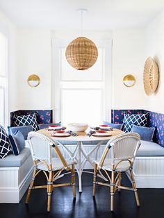 A cheery breakfast nook | Riviera Side Chairs via Serena and Lily