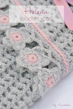 Helena crochet scarf with flowers edging, pattern | Anabelia Craft Design blog | Bloglovin'