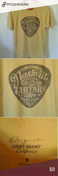 Mens Lucky brand guitar pick tshirt Yellow Original Lucky Brand California Mens Guitar Pick Tshirt. Says size small but it is definitely a medium. In perfect used condition. Lucky Brand Shirts Tees - Short Sleeve