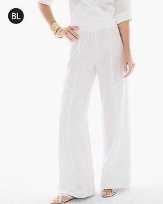 Chico's Women's Black Label Lace-Insert Linen Pants, Optic White, Size: 1.5 (10 - M) REG
