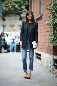 Distressed denim is work appropriate when paired with a great blazer and pump!