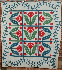 Coxcomb applique design from Old Quilts, Antique Quilts, Vintage Quilts, Primitive Gatherings, Green Quilt, Custom Quilts, 12 Days Of Christmas, Quilting Designs, Quilt Design