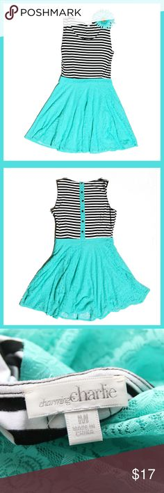 """Beautiful Charming Charlie Dress Have fun with this adorable lace and striped summer dress by Charming Charlie. Nylon, spandex and rayon dress size medium. Length approx. 33"""" and bust approx. 20"""". Like new with no visible flaws. Charming Charlie Dresses"""