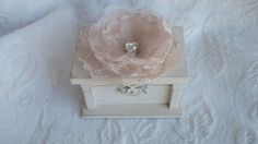 Beautiful Soft Ivory Wedding Ring BOx with a Champagne Lace and Ivory Organza Flower Puff and Rhinestone Personalized Hearts, $19.95