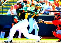 Yoenis Céspedes homered in his first Spring Training game